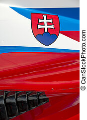 Slovenian flag on race car - The colors and crest of the...