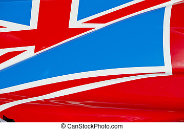Union Jack on Race Car - The colors and crest of the...