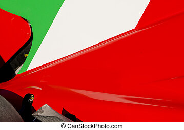 Italian Flag on Race Car - The colors and crest of the...