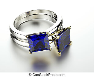 Ring with sapphire - Golden Engagement Ring with sapphire...
