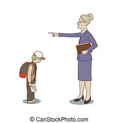Angry teacher - This is an illustration of angry teacher an...