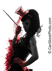 woman stripper showgirl portrait silhouette - one woman...