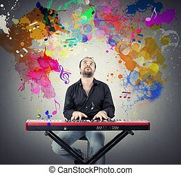 Piano - Yound by playing with piano with colorful effect