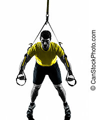 man exercising suspension training  trx silhouette
