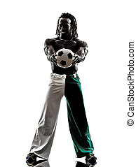black man soccer player holding showing football  silhouette