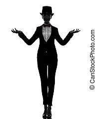 woman master of ceremonies presenter silhouette - one woman...