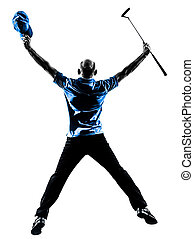 happy man golfer golfing jumping   silhouette