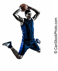 caucasian man basketball player jumping dunking silhouette -...