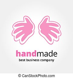 Abstract vector hands logotype concept isolated on white...