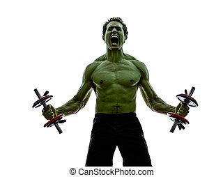 Ciało, trening, podobny, Hulk, ciężary, wykonuje, silny,...