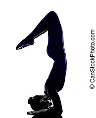 woman exercising Eka Pada Viparita Dandasana pose yoga...