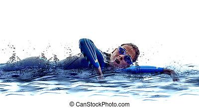ironman, triatlón, Nadadores, Atleta, mujer