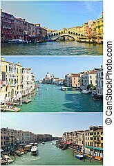 landmarks of Venice, Italy - Collage of landmarks of Venice,...