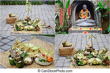 offerings in Bali - collection of offerings in Bali,...