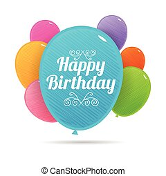 Bday Colorful Balloons - Vector illustration of birthday...