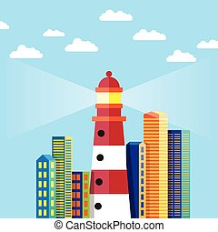 Lighthouse in the City - Vector illustration of flat design...