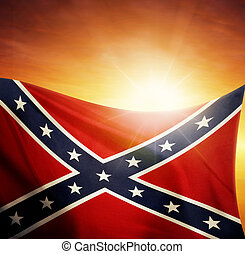 Flag and sky - Confederate flag in front of bright sky