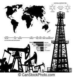 Oil infographics. - Oil industry infographics over orange...
