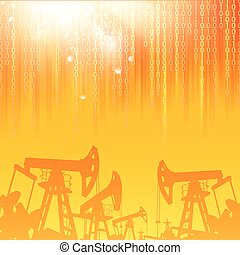 Oil industry. - Oil industry background with digital sparks....