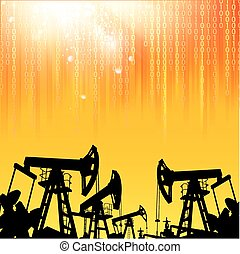 Oil industry - Oil industry background with digital sparks...