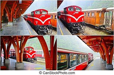 train station at Alishan, Taiwan - collection of train at...