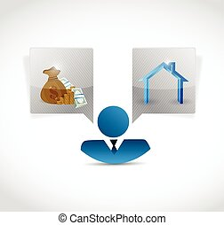 home and money concept illustration