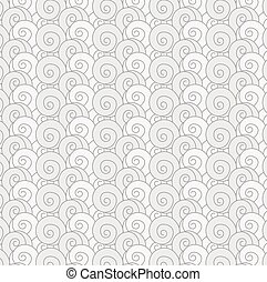 seamless pattern swirl monochrome wave Japanese background -...