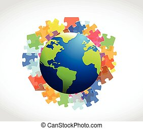puzzle and globe illustration design over a white background