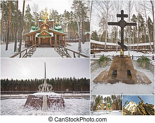 Ganina Yama cathedral and Nicholas II statue and obelisk and...