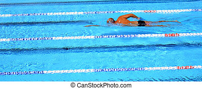 Outdoor swimming pool - Unrecognized person swim in swimming...