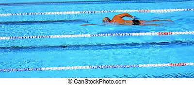 Outdoor swimming pool - Unrecognized person swim in swimming...