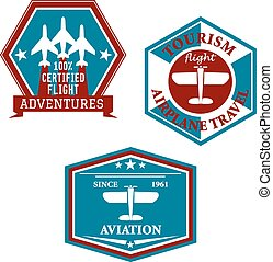 Aviation and tourism emblems