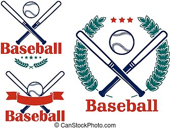 Baseball emblems or badges vector designs with crossed bats...