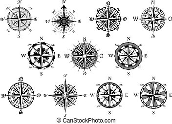 Antique compasses symbols set - Vector antique compasses...
