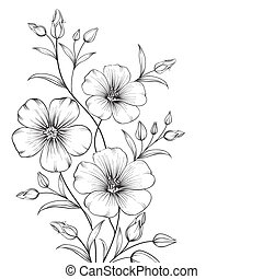 Linum flower isolated over white background. Vector...