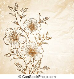 Linum flower over old paper. Vector illustration.