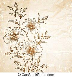 Linum flower over old paper. Vector illustration.