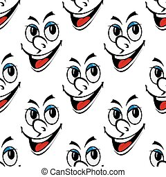 Happy smiling face seamless background pattern with a cute...