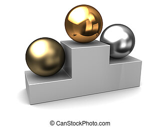 competition places - 3d illustration of three spheres,...