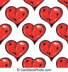 Red Valentines hearts seamless pattern with holes symbolic...