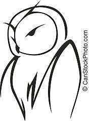 Vector doodle sketch of an owl