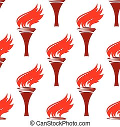 Flaming torches seamless background pattern