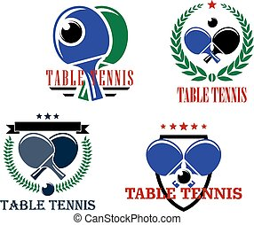 Table Tennis emblems or badges - Table Tennis vector emblems...