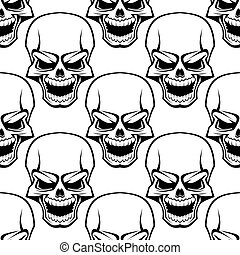 Skull seamless background pattern - Black and white vector...