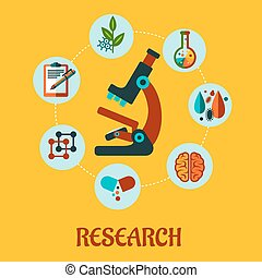 Research flat infographic - Vector research flat infographic...