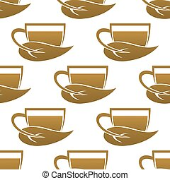 Seamless pattern of tea cups