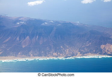 Fuerteventura, Canary islands, from the air, southern tip of...