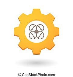 Gear icon with a drone