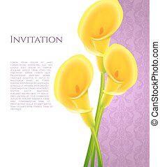 Invitation with callas flowers - Vector illustration of...