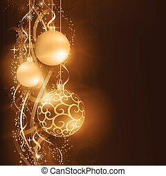 Dark golden Christmas background with hanging Christmas...